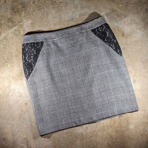Anne Klein houndstooth & lace Knee length skirt 16